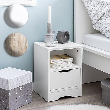 Wohnling Nachtkonsole 31x43x31cm Matt 1 Schublade und Ablagefach Nachttisch Nachtschränkchen Bettkommode - Bild 1