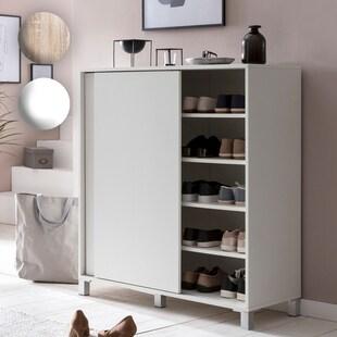 Wohnling Schuhschrank Schuhregal 100x108x37,5 cm Schuh Aufbewahrung 20 Paar Platzsparend Schuhablage