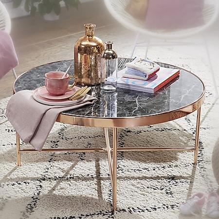 Wohnling Couchtisch Marmor Optik Schwarz - Rund Ø82,5 cm Kupfer Metallgestell Wohnzimmertisch Großer Tisch - Bild 1