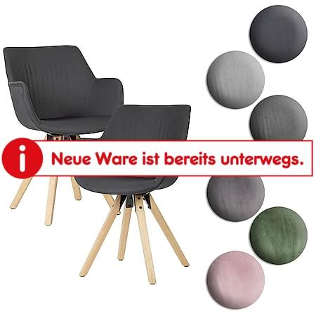 Wohnling 2er Set Esszimmerstühle mit Armlehnen Küchenstühle Modern mit Holzbeinen Schalenstuhl Gepolstert - Bild 1