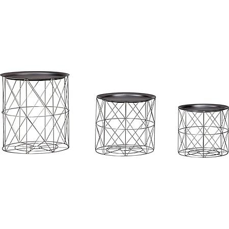 Wohnling Beistelltisch 3er Set aus Körben Schwarz/Silber Korbtische abnehmbares Tablett Satztisch 3-teilig - Bild 1