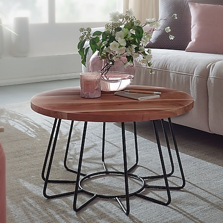 Wohnling Couchtisch 62 cm Sofatisch Akazie Massivholz / Metall Wohnzimmertisch Rund Holztisch Massiv - Bild 1