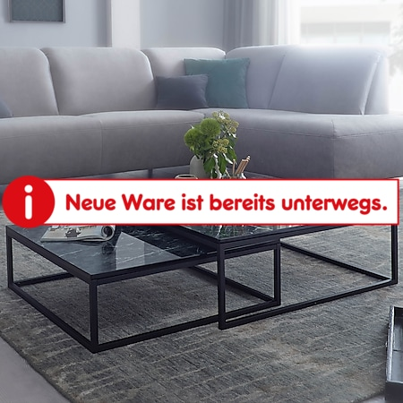 Wohnling Couchtisch 2er Set Schwarz Marmor Optik Couchtische 2-teilig Tischgestell Metall  Wohnzimmertische - Bild 1