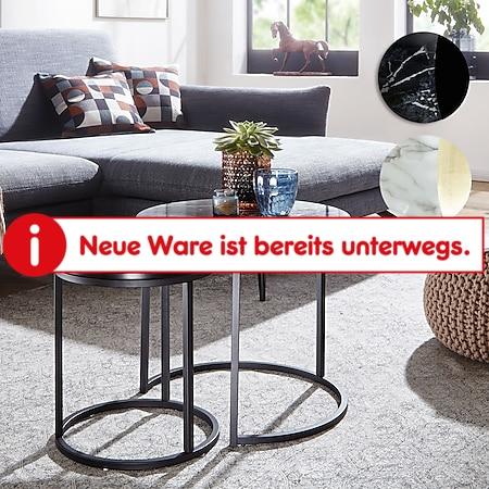 Wohnling Beistelltisch 2er Set Marmor Optik Rund Couchtisch 2-teilig Tischgestell Metall Moderne Satztische - Bild 1
