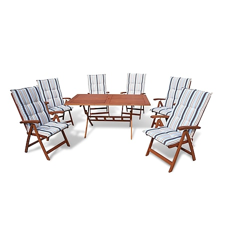 Grasekamp Gartenmöbel 13tlg mit 160cm Klapptisch  Terrassenmöbel Santos Marine - Bild 1