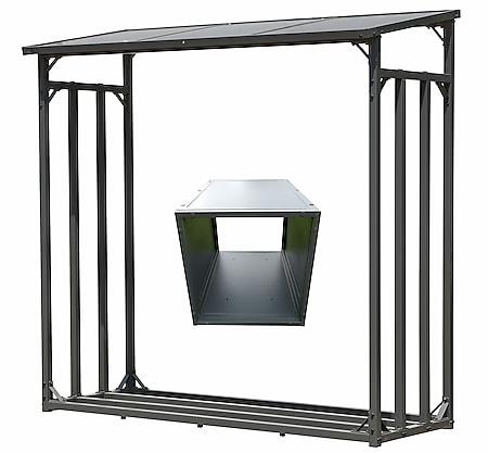 Grasekamp Kaminholz Lager 200 x 70 x 195 cm und  Box für Anmachholz mit Doppelstegplatten  Regal Stapelhilfe Aussen - Bild 1