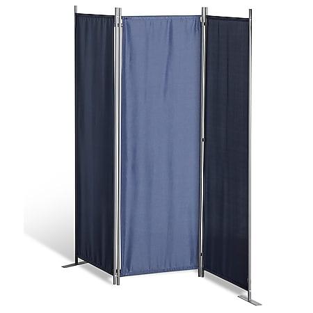 Grasekamp Stellwand 165x170 cm dreiteilig - blau -  Paravent Raumteiler Trennwand  Sichtschutz - Bild 1