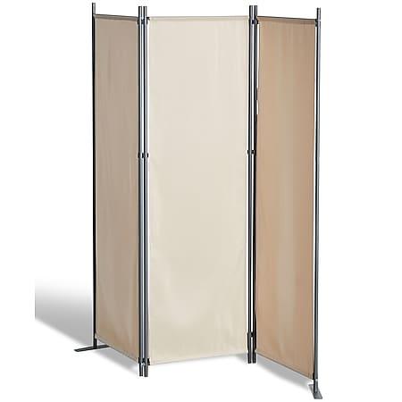 Grasekamp Stellwand 165x170 cm dreiteilig - beige  - Paravent Raumteiler Trennwand  Sichtschutz - Bild 1