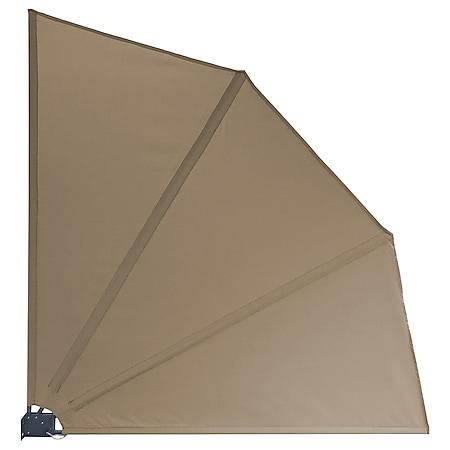 Grasekamp Balkonfächer Premium 140x140cm Taupe mit  Wandhalterung Trennwand Sichtschutz - Bild 1