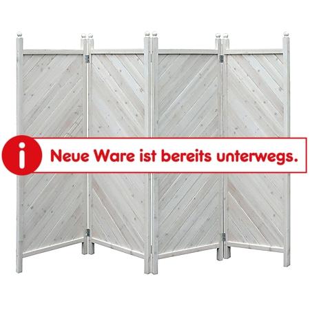 Grasekamp Paravent 4tlg Raumteiler Trennwand  Sichtschutz Kiefer Weiss München - Bild 1