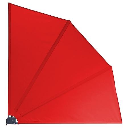 Grasekamp Balkonfächer Premium 140x140cm Rot  mit Wandhalterung Trennwand Sichtschutz - Bild 1