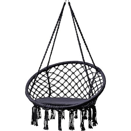 Grasekamp Hängesessel zum Aufhängen mit rundem  Sitzkissen Schwarz Belastbarkeit max.  100 kg Schwebesessel - Bild 1
