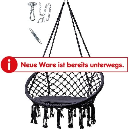 Grasekamp Hängesessel Schwarz mit  Deckenbefestigung, Spezialfeder und  rundem Sitzkissen Belastbarkeit max. 100  kg Schwebesessel - Bild 1