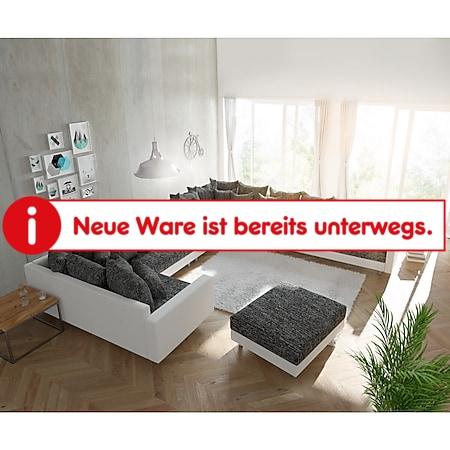 Couch Clovis XXL Weiss Schwarz mit Hocker und Armlehne Ottomane Rechts Wohnlandschaft - Bild 1