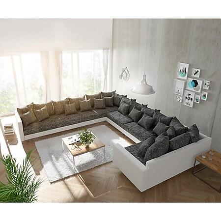 Couch Clovis XXL Weiss Schwarz mit Armlehne Ottomane Links Wohnlandschaft - Bild 1
