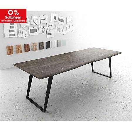 Esszimmertisch Edge Akazie Platin 260x100 Metall Schräg Live-Edge - Bild 1