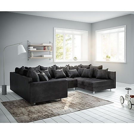 Couch Clovis Anthrazit Antik Optik mit Armlehne Wohnlandschaft modular - Bild 1