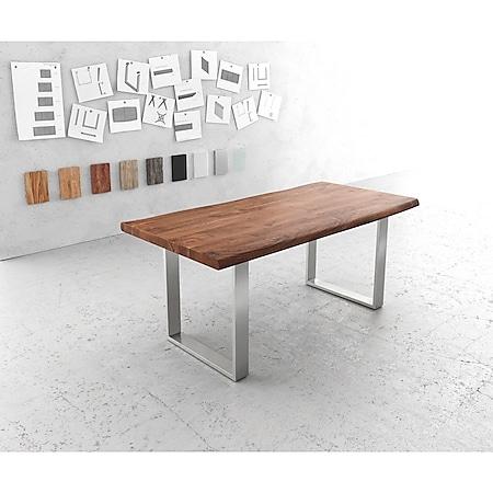 Esszimmertisch Edge Akazie Braun 180x90 XL Edelstahl Schmal Live-Edge - Bild 1