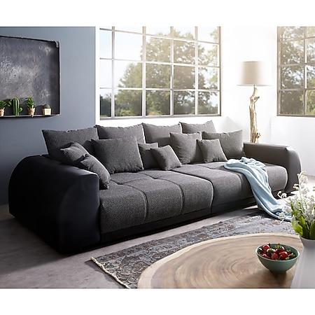 Bigsofa Violetta Schwarz 310x135 cm inklusive Kissen Big-Sofa - Bild 1