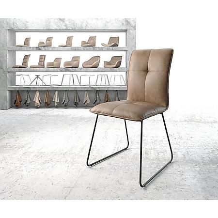 Stuhl Maddy-Flex Kufengestell schwarz Kunstleder Braun - Bild 1