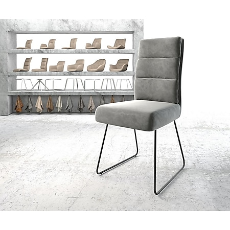 Stuhl Pela-Flex Kufengestell schwarz Samt Grau - Bild 1