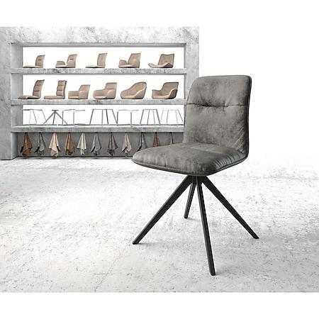 Drehstuhl Vinjo-Flex Kreuzgestell kantig schwarz Vintage Grau - Bild 1