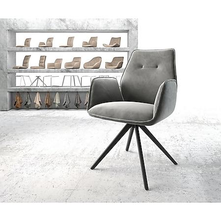 Drehstuhl Zoa-Flex Kreuzgestell kantig schwarz Samt Grau - Bild 1