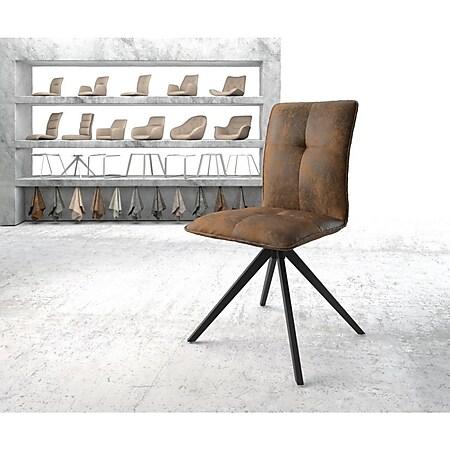 Drehstuhl Maddy-Flex Kreuzgestell kantig schwarz Vintage Braun - Bild 1