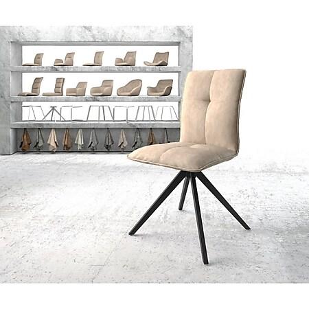 Drehstuhl Maddy-Flex Kreuzgestell kantig schwarz Vintage Beige - Bild 1