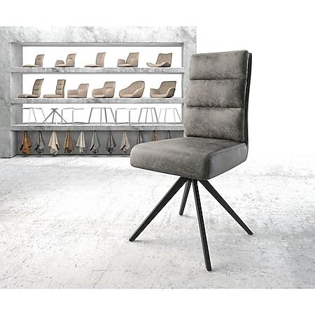 Drehstuhl Pela-Flex Kreuzgestell kantig schwarz Vintage Grau - Bild 1