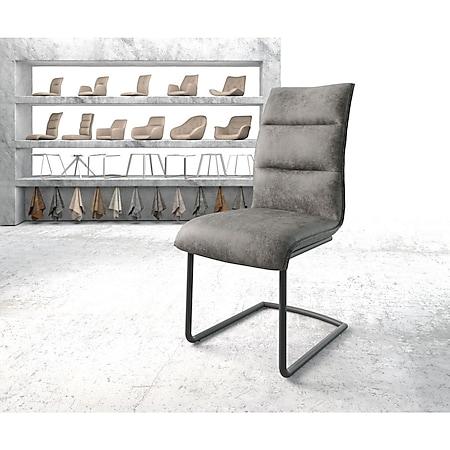 Stuhl Xantus-Flex Freischwinger rund schwarz Vintage Grau - Bild 1