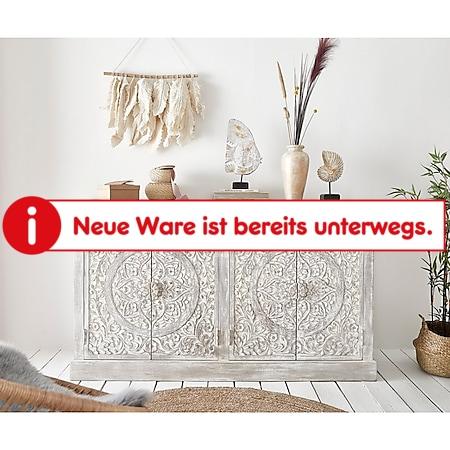 Kommode Colia Weiß 156x45x90 cm Handgeschnitzt Mangoholz Massiv - Bild 1