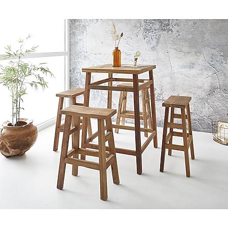 Bartisch-Set Dafna Exotic Wood 110 cm mit 4 Stühlen - Bild 1