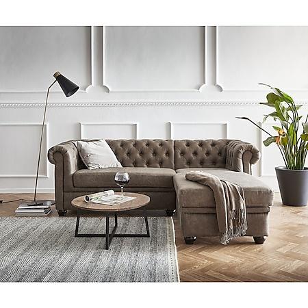 Couch Chesterfield 200 cm Taupe Abgesteppt Ottomane Rechts - Bild 1