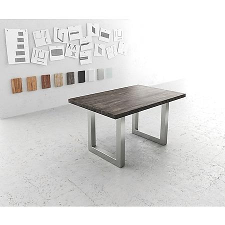 Esszimmertisch Edge Akazie Platin 140x90 XL Edelstahl Breit - Bild 1