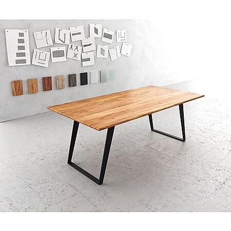 Esszimmertisch Edge Akazie Natur 200x100 Metall Schräg - Bild 1