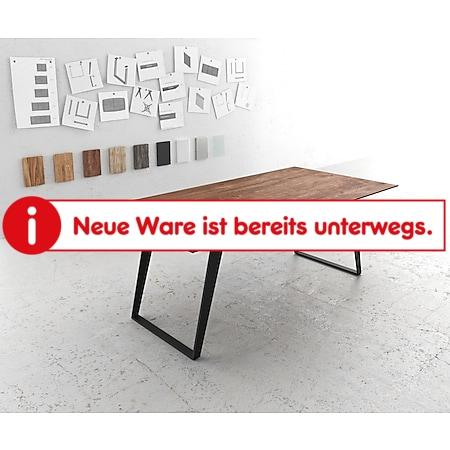 Esszimmertisch Edge Akazie Braun 200x100 Metall Schräg Schweizer Kante - Bild 1