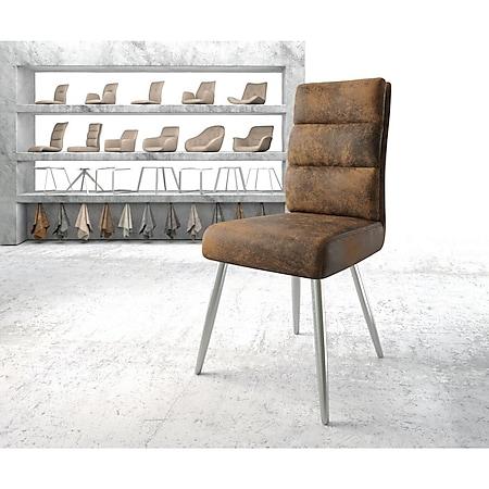 Stuhl Pela-Flex 4-Fuß konisch Edelstahl Vintage Braun - Bild 1