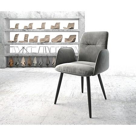 Armlehnstuhl Vinja-Flex 4-Fuß konisch Schwarz Samt Grau - Bild 1