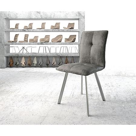 Stuhl Maddy-Flex 4-Fuß oval Edelstahl Vintage Grau - Bild 1