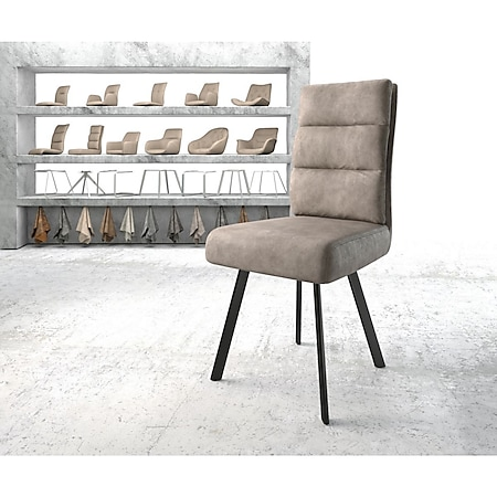 Stuhl Pela-Flex 4-Fuß oval Schwarz Vintage Taupe - Bild 1
