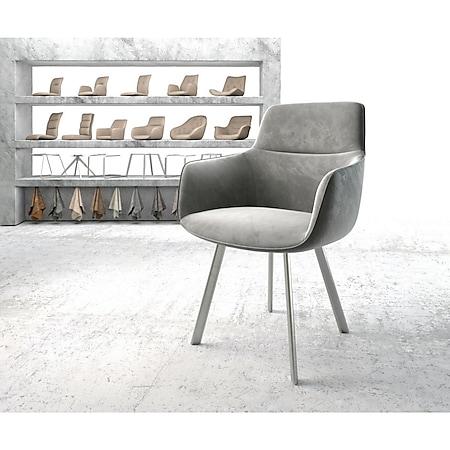 Stuhl Pejo-Flex 4-Fuß oval Edelstahl Samt Grau - Bild 1