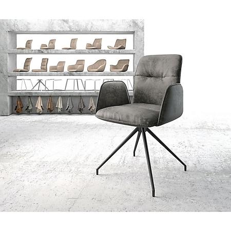 Drehstuhl Vinja-Flex Kreuzgestell konisch Schwarz Vintage Grau - Bild 1