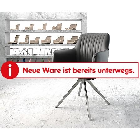 Drehstuhl Greg-Flex Kreuzgestell kantig Edelstahl Echt-Leder schwarz - Bild 1
