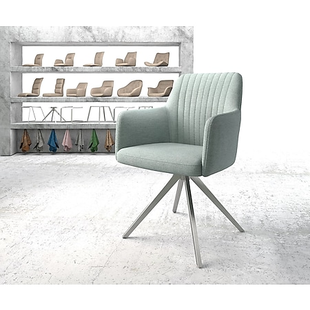 Drehstuhl Greg-Flex Kreuzgestell kantig Edelstahl Stripes mint - Bild 1