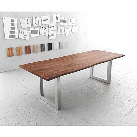 Esszimmertisch Edge Akazie Braun 240x100 Edelstahl Breit Live-Edge - Bild 1