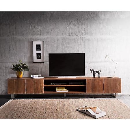 Fernsehtisch Live-Edge Akazie Braun 300 cm 4 Türen 2 Fächer Baumkante Lowboard - Bild 1
