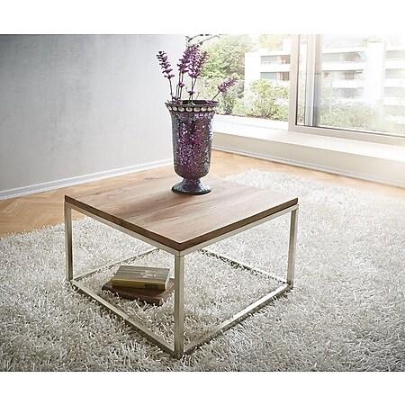 Wohnzimmertisch Tatius Sheesham Natur 60x60 Gestell Edelstahl Silber Couchtisch - Bild 1