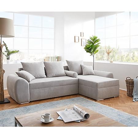 Couch Rudy Silbergrau 260x160 Schlaffunktion Ottomane variabel Ecksofa - Bild 1
