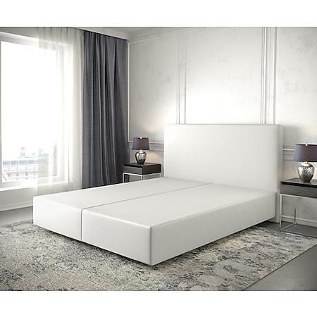 Boxspringgestell Dream-Well Kunstleder Weiß160x200 Bettgestell - Bild 1